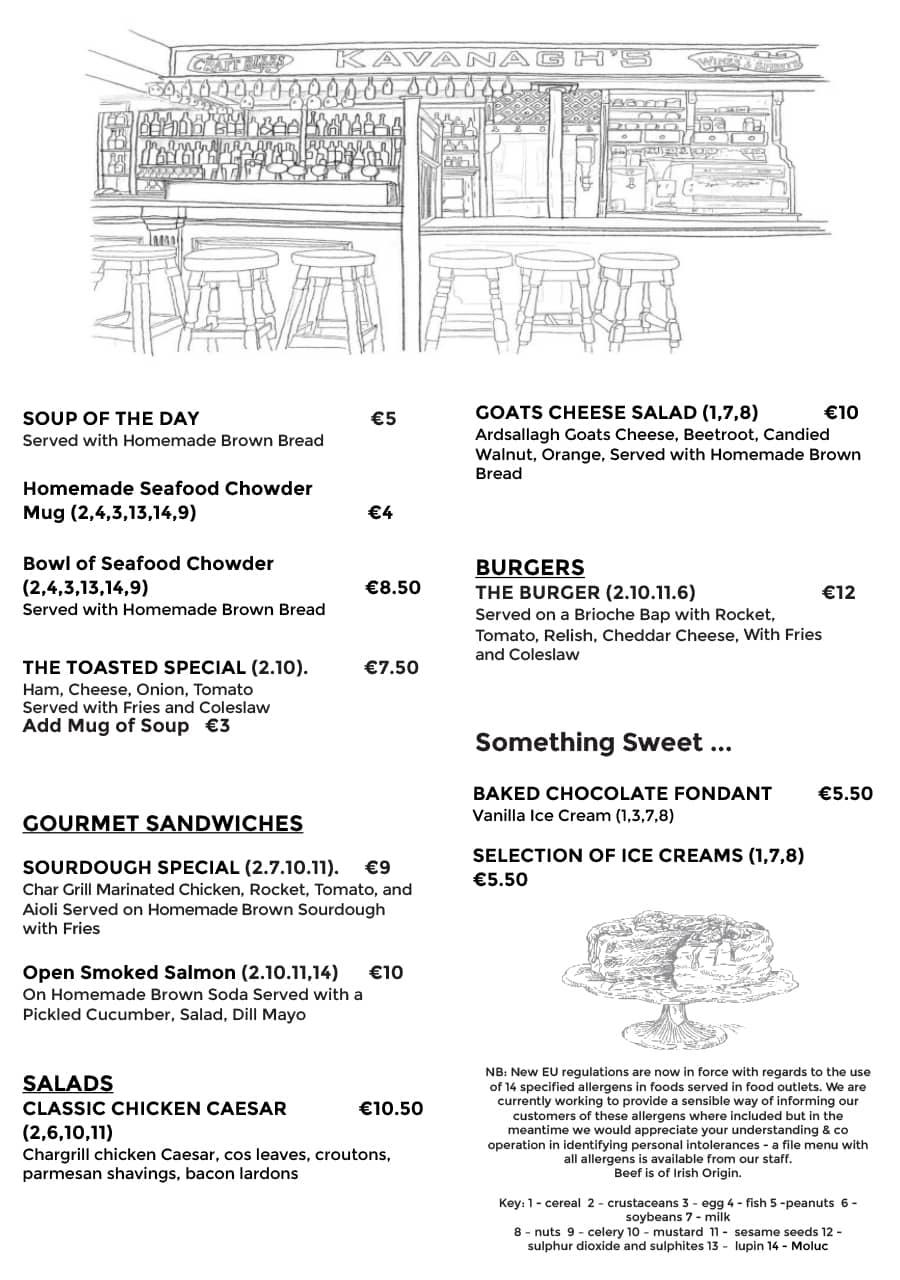 lunch menu at Kavanaghs Naas